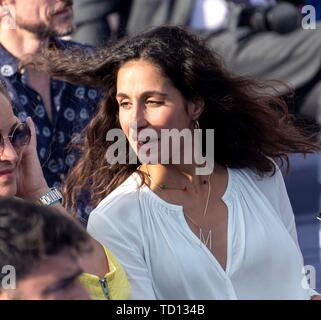 Manacor, Spain. 11th June, 2019. Xisca Perello, girlfriend of Spanish tennis player Rafa Nada, attends the graduation ceremony of Rafa Nadal Academy, students of American International School of Mallorca, in Manacor, Balearic Islands, Spain, 11 June 2019. Credit: CATI CLADERA/EFE/Alamy Live News - Stock Photo