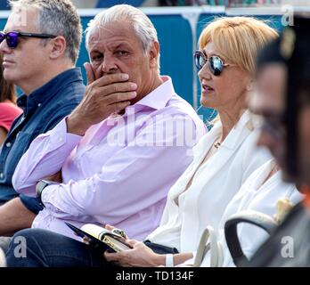 Manacor, Spain. 11th June, 2019. Sebastian Nadal and Ana Maria Perera, parents of Spanish tennis player Rafa Nada, attends the graduation ceremony of Rafa Nadal Academy, students of American International School of Mallorca, in Manacor, Balearic Islands, Spain, 11 June 2019. Credit: CATI CLADERA/EFE/Alamy Live News - Stock Photo