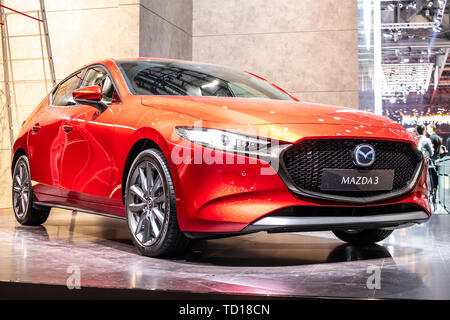 Geneva, Switzerland, March 04, 2019: all new Mazda 3 Fourth generation at Geneva International Motor Show, compact car manufactured in Japan by Mazda - Stock Photo