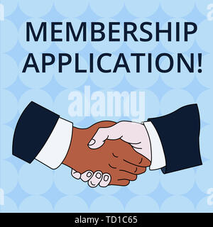 Word writing text Membership Application. Business photo showcasing Gateway to any organization to check if Eligible Hand Shake Multiracial Male Busin - Stock Photo