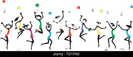 Fun Stick Figure Girls in colorful dresses celebrate by dancing - each girl grouped separately, dresses removable and easy to change color - Stock Photo