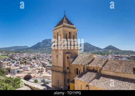 Church tower and surrounding landscape of Alcaudete, Spain - Stock Photo