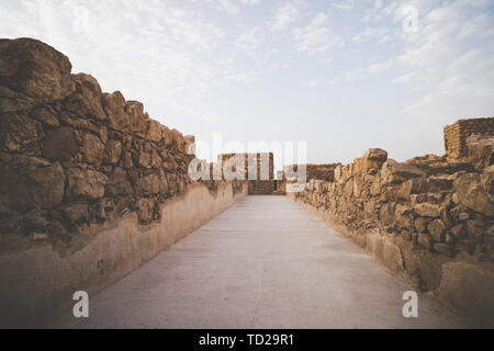 Masada fortress, ancient fortification in Israel situated on top of an isolated rock plateau. One of passages inside Masada fortification, Israel. Old - Stock Photo