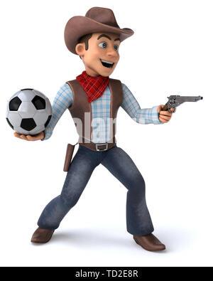 Fun Cowboy - 3D Illustration - Stock Photo