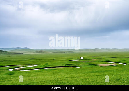 Hulunbuir grasslands and rivers, Inner Mongolia, China - Stock Photo
