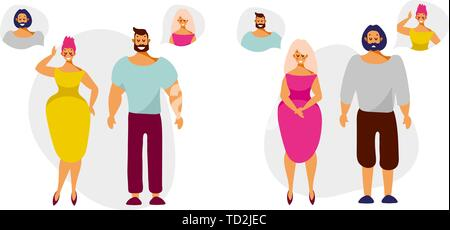 Cartoon characters men and women think and dream of each other. Set of vector illustration in flat cartoon style isolated on white background. - Stock Photo