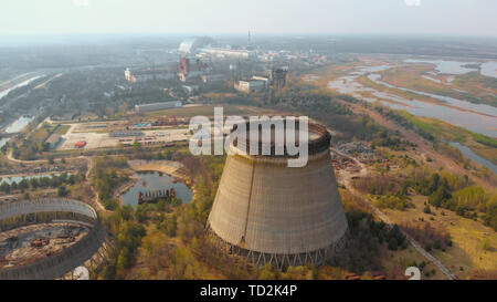 Chernobyl nuclear power plant, Ukrine. Aerial view - Stock Photo