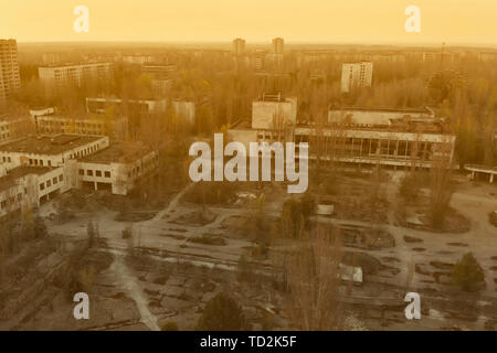 Main square of the abandoned city Pripyat - Stock Photo