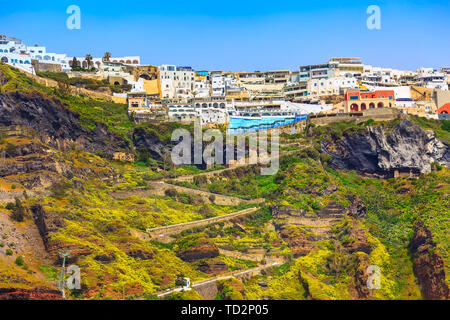 Fira, Santorini island, Greece panoramic view, with donkey path and cable car from old port, high volcanic rocks - Stock Photo