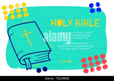 Abstract landing page pattern with different element, text block and doodle holy bible icon. Vector fun background. - Stock Photo
