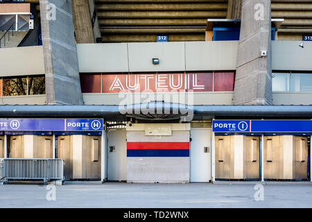 Close-up view of the Auteuil grandstand entrance of the Parc des Princes stadium in Paris, France, home of Paris Saint-Germain (PSG) football club. - Stock Photo