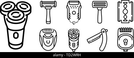 Shaver icons set. Outline set of shaver vector icons for web design isolated on white background - Stock Photo