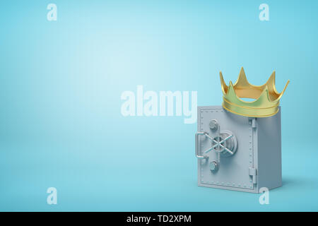 3d front close-up rendering of closed grey metal safe with golden crown on top on light-blue background. - Stock Photo