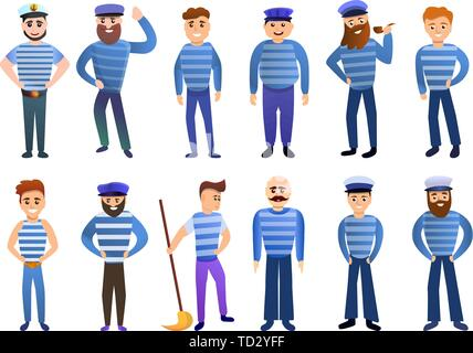 Sailor icons set. Cartoon set of sailor vector icons for web design - Stock Photo