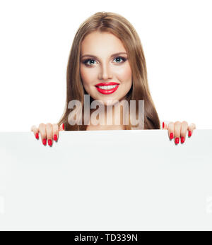 Perfect young woman holding white empty board background with copy space - Stock Photo