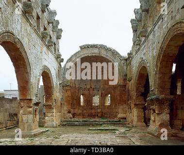 Syria. Harem district. Qalb Lozeh. Ruins of the Basilica c. 460. One of the best-preserved church of this period.  View of the wide nave with semicircular apse. Near of Aleppo. Historical photography (taken before the Syrian Civil War). - Stock Photo