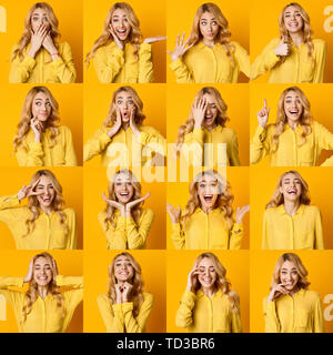 Set Of Young Girl Emotions. Blonde Woman Grimacing - Stock Photo