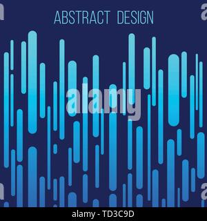 Abstract creative concept layout template. Trendy cover, card, flyer, poster, brochure design. Modern abstract cover. Vertical rounded stripes in blue - Stock Photo