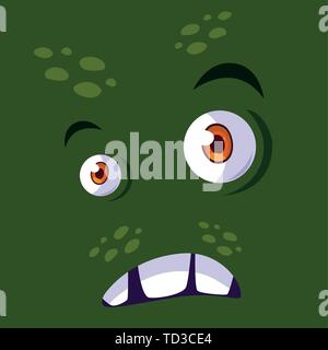Monster cartoon design, Creature face emoticon caricature halloween character and mutant theme Vector illustration - Stock Photo
