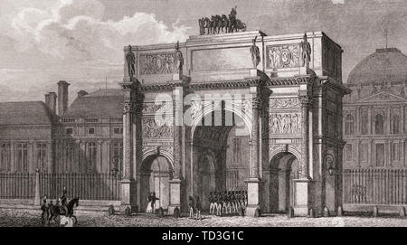 The Arc de Triomphe du Carrousel, Paris, antique steel engraved print, 1831 - Stock Photo