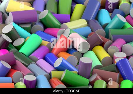 Abstract background of randomly arranged colored glossy cylinders - Stock Photo