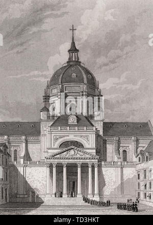 Chapelle Sainte Ursule de la Sorbonne, Paris, antique steel engraved print, 1831 - Stock Photo
