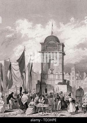 The Fontaine des Innocents, Paris, antique steel engraved print, 1831 - Stock Photo