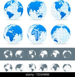 Vector set of different globe views. Made in blue, gray and white variants. - Stock Photo