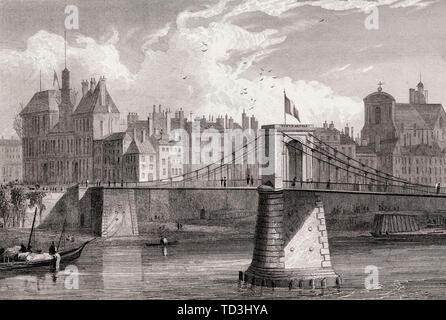 The pont d'Arcole, Paris, France, antique steel engraved print, 1831 - Stock Photo