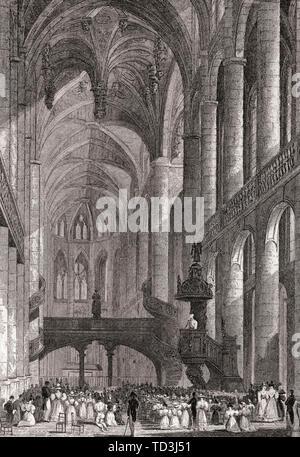 Church of St Etienne du Mont, Paris, antique steel engraved print, 1831 - Stock Photo