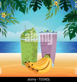tropical fruit and smoothie drink - Stock Photo