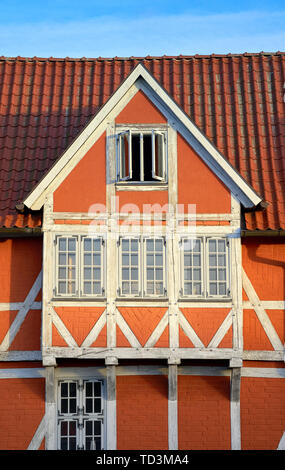 Close-up of an old timbered house in Wismar. - Stock Photo
