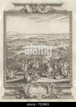The Battle of Cassano August the 16, 1705. Cassano d'Adda,Lombardy 1736 print - Stock Photo