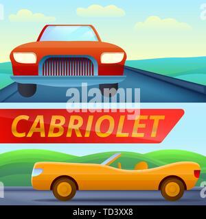 Cabriolet car banner set. Cartoon illustration of cabriolet car vector banner set for web design - Stock Photo