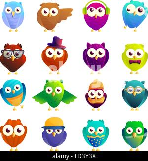 Owl icons set. Cartoon set of owl vector icons for web design - Stock Photo
