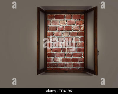 Bricked up window, no escape. Mental health or captive trap concept. - Stock Photo