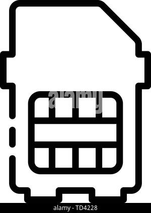Modern sim card icon, outline style - Stock Photo