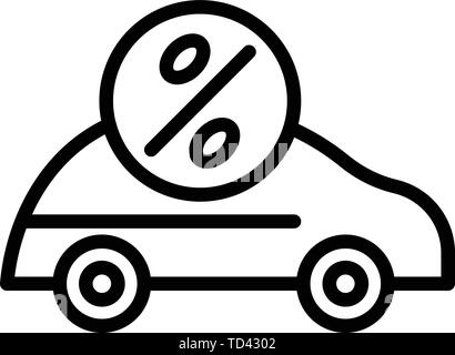 Car loan interest icon, outline style - Stock Photo