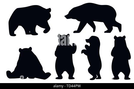 Black silhouette set of Grizzly bears. North America animal, brown bear. Cartoon animal design. Flat vector illustration isolated on white background. - Stock Photo