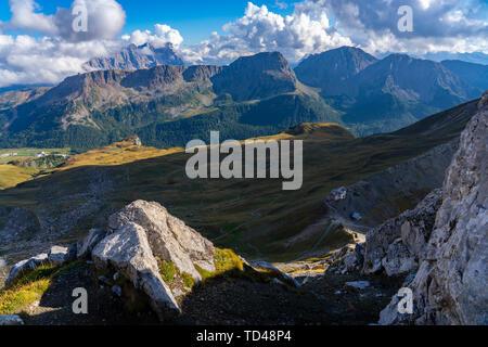 San Pellegrino Pass, Paradiso mountain hut, Dolomites, Veneto, Italy, Europe - Stock Photo
