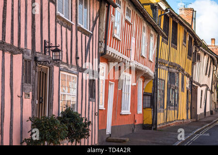 Colourful half timbered houses on Water Street part of the Historic Wool Village of Lavenham, Suffolk, England, United Kingdom, Europe - Stock Photo