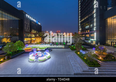 Blues moment at sunset modern business building office landscape - Stock Photo