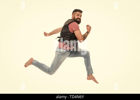 Never stop. Man thief run away. Keep moving concept. Guy bearded hipster captured in running motion isolated on white background. Bearded man running high speed. Escape and runaway. Running motion. - Stock Photo