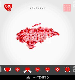 I Love Honduras. Red and Pink Hearts Pattern Vector Map of Honduras Isolated on Grey Background. Love Icon Set. - Stock Photo