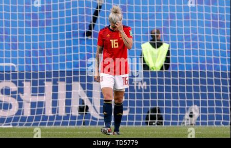 Valenciennes, France. 12th June, 2019. Spanish Maria Leon reacts after their FIFA Women's World Cup 2019 match at the Stade du Hainaut, in Valenciennes, France, 12 June 2019. Credit: Juan Carlos Cardenas/EFE/Alamy Live News - Stock Photo