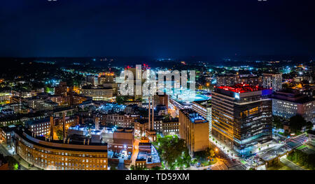 Aerial panorama of New Haven, Connecticut by night - Stock Photo
