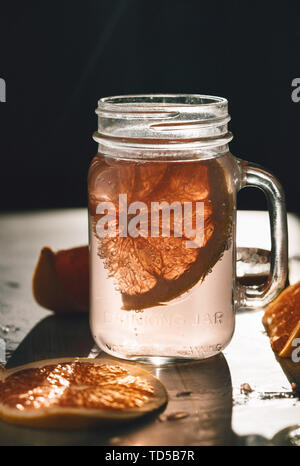 No one makes a glass for breakfast. Drink jars and food. Healthy jam. Dawn. Delicious coffee with sugar. Dark. Traditional homemade tea cup (container) full of hot hot hot liquid - Stock Photo
