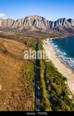 Drone imagery of Kogel Bay Beach an hour from Cape Town, South Africa, Africa - Stock Photo
