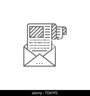 E-mail Marketing Related Vector Thin Line Icon. Isolated on White Background. Editable Stroke. Vector Illustration. - Stock Photo