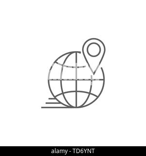 Local SEO Related Vector Thin Line Icon. Isolated on White Background. Editable Stroke. Vector Illustration. - Stock Photo